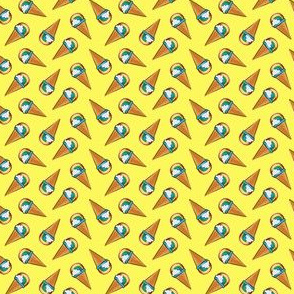 (micro scale) rainbow ice-cream cones on yellow  (toss) C19BS