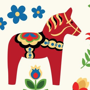 Swedish Folk Dala Horses Red Large