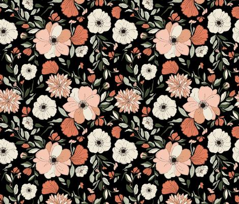 POPPY-PEONIES-DARK JUMBO fabric by indybloomdesign on Spoonflower - custom fabric