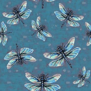 Wedgewood-Blue Dragonfly Dance Large Print