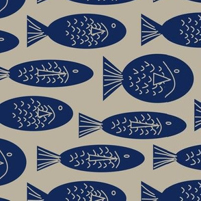 Navy Blue Fish on a Beige Background