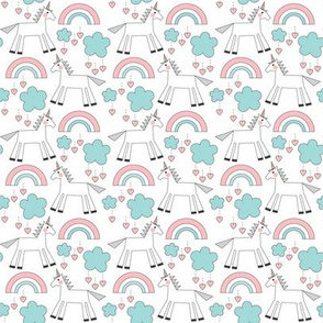 small unicorns on white - grey pink teal