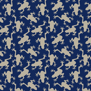 Frogs on Navy Blue
