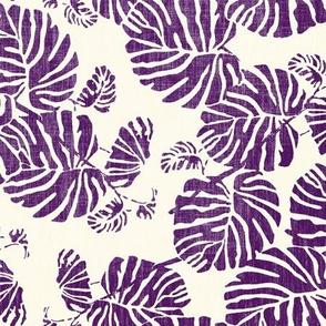 palm leaves purple on cream
