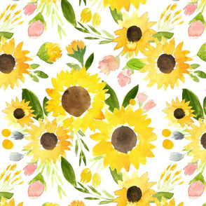 Sweet Summer Sunflowers Watercolor Florals - Large Scale