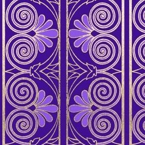Greek key acanthus border in purple