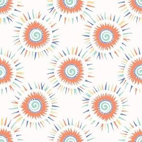 Sun spiral confetti polka dot vector pattern