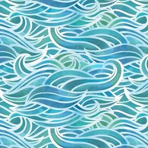 Abstract watercolor waves - small