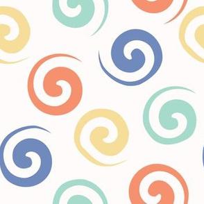 Spiral confetti polka dot pattern
