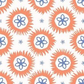 Hand drawn spring folk flower circles