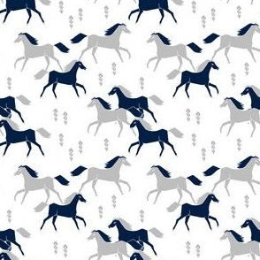 SMALL - horses // grey and navy blue kids western west wild horses americana