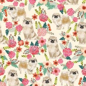 tibetan spaniel floral dog fabric - floral dog fabric, dogs fabric, spaniel fabric, cute dog fabric -  cream