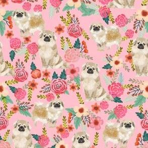 tibetan spaniel floral dog fabric - floral dog fabric, dogs fabric, spaniel fabric, cute dog fabric -  pink