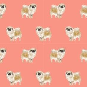 tibetan spaniel dog fabric - dog fabric , dog fabric, dog breeds, dog coats, spaniel, tibetan spaniel, - salmon