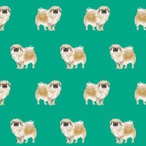 tibetan spaniel dog fabric - dog fabric , dog fabric, dog breeds, dog coats, spaniel, tibetan spaniel, - green