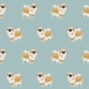 tibetan spaniel dog fabric - dog fabric , dog fabric, dog breeds, dog coats, spaniel, tibetan spaniel, - blue