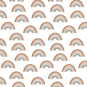 rainbow fabric - earth tone fabric, earth palette fabric, trendy earth tones fabric, rainbows fabric, rainbow fabric - girls - white