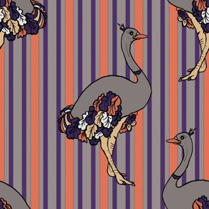 Ostriches on Parade in  Orange, Purple and Charcoal Stripe