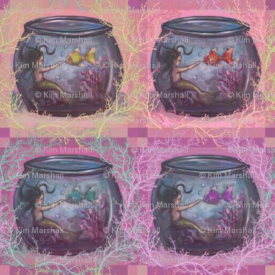 Goldfish Bowl Mermaid Pink Medium Print