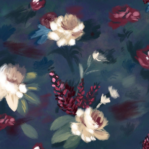 Moody floral oil paint