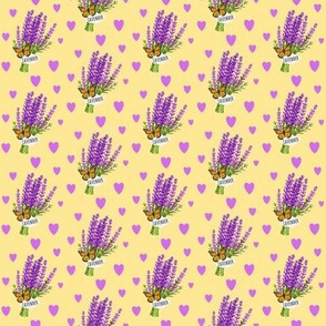 Bouquet of Lavender / Butterfly - Hearts - Yellow Small