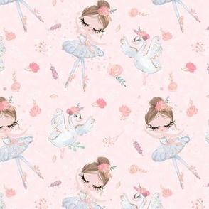 Ballerina Ballet Blush pink white swan