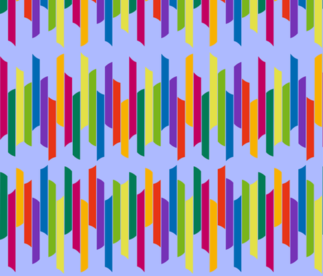 Vertical stacked stripes - brights on blue fabric by dustydiscoball on Spoonflower - custom fabric