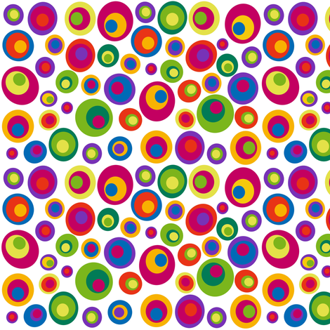 Small scale goggle eyes (eyes on the 60s) - brights on white fabric by dustydiscoball on Spoonflower - custom fabric