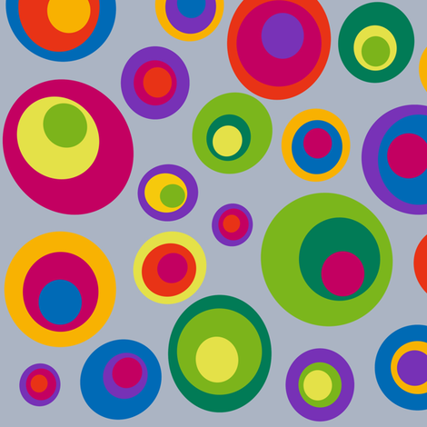Goggle eyes (eyes on the 60s) - brights on grey fabric by dustydiscoball on Spoonflower - custom fabric