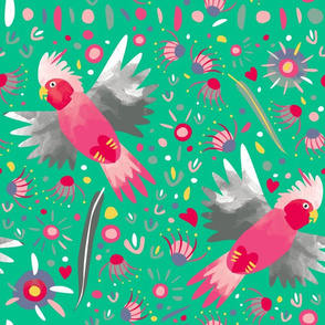 Galah flying fabric green by Mount Vic and Me