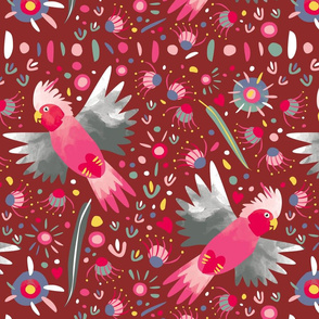 Galah flying maroon fabric by Mount Vic and Me
