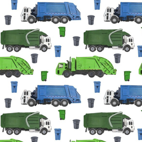 Large Scale Garbage Trucks on White