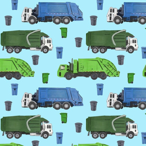 Large Scale Garbage Trucks on Blue