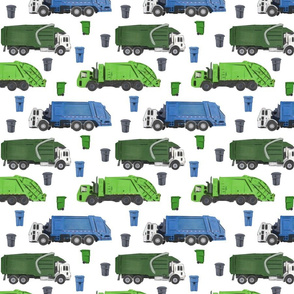 Medium Scale Garbage Trucks on White