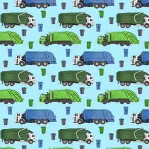 Medium Scale Garbage Trucks on Light Blue
