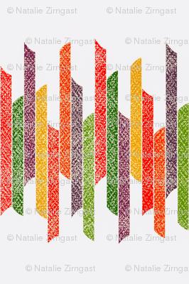 Vertical stacked stripes - textured green orange yellow on white
