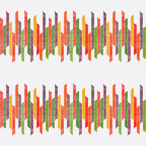 Vertical stacked stripes - textured green orange yellow on white  fabric by dustydiscoball on Spoonflower - custom fabric