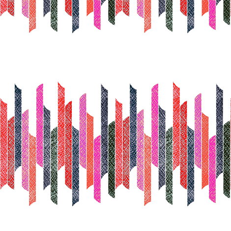 Vertical stacked stripes - textured red black pink on white  fabric by dustydiscoball on Spoonflower - custom fabric