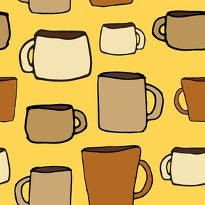 large mugs - on yellow