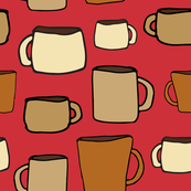 large mugs - on red