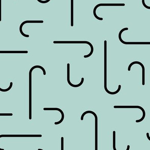Hooked on minimal new trend abstract pattern hooks and curves spring mint JUMBO