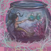 Goldfish Bowl Mermaid Coral Large Print