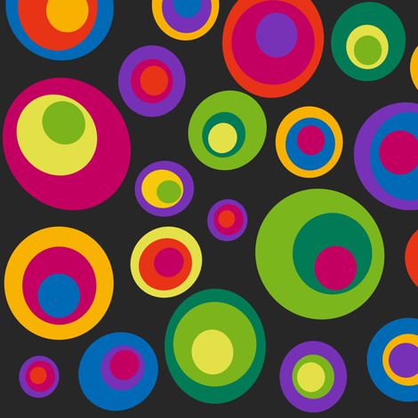 Goggle eyes (eyes on the 60s) - bright on black fabric by dustydiscoball on Spoonflower - custom fabric