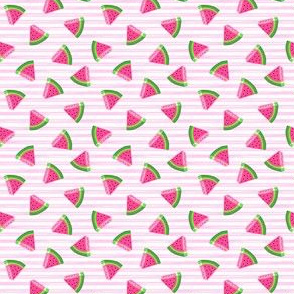 (micro scale) watermelons (pink stripes)- summer fruit fabric - LAD19BS