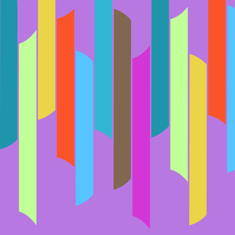 Vertical stacked stripes - brights on purple  fabric by dustydiscoball on Spoonflower - custom fabric