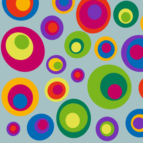 Goggle eyes (eyes on the 60s) - bright on grey green  fabric by dustydiscoball on Spoonflower - custom fabric