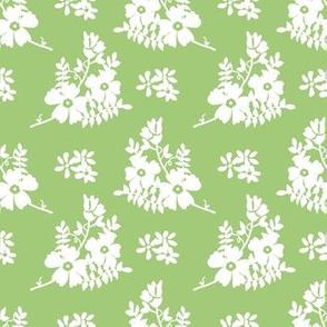 Flower Garden Green and White