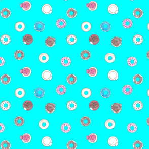 donuts on teal