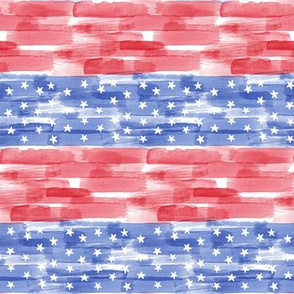 Stars and stripes - watercolor red and blue - LAD19
