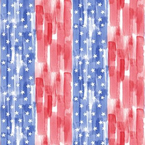 Stars and stripes - watercolor red and blue (90) - LAD19